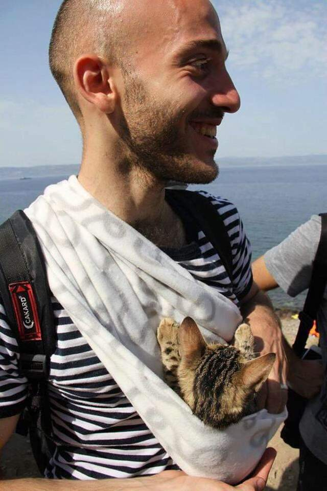 Syrian refugee with cat